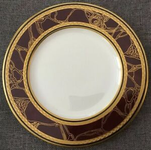 Villeroy-amp-and-Boch-Heinrich-EMPRESS-Side-Plate-6-25-Heavy-Gold-Maroon-Germany