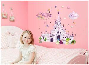 DISNEY-PRINCESS-CASTLE-Wall-Sticker-Decor-Art-Baby-Nursery-bedroom-play-Room