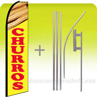 Custom Feather Swooper Flutter Tall Banner Sign Flag 15' Kit - Churros Yb