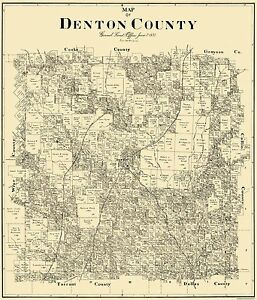 Old County Map Denton Texas Landowner 1897 23 x 2681 eBay