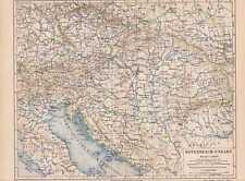 Österreich-Ungarn Donaumonarchie LANDKARTE von 1889 Siebenbürgen Galizien