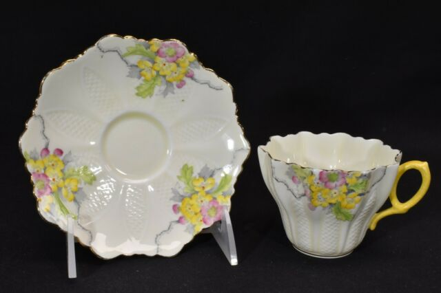 Royal Paragon  Cup & Saucer G743 Yellow & Pink Flowers (Crazing)