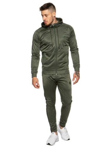Designer mens Enzo Slim Fit Poly Gym Full Tracksuit Joggers Zip Hoodie Polyester