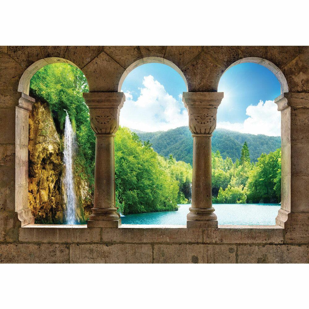 Fototapete Wasserfall See BäumeWald Säulen Bogen Stein liwwing no. 2941
