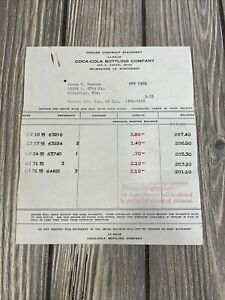 Coca-Cola-Bottling-Company-Cooler-Contract-Statement-Vintage-Receipt-1950-s-Wis