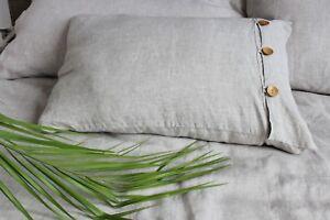 Linen-Pillowcase-with-Side-Wooden-Buttons-Decor-Standard-Queen-King-Euro