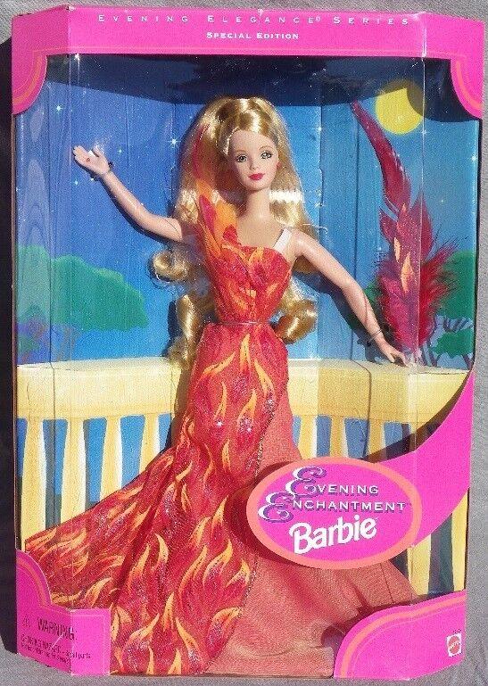 Barbie EVENING ENCHANTMENT 1997 Mattel 19783 ROBE bal flamme plume POUPEE NEUVE