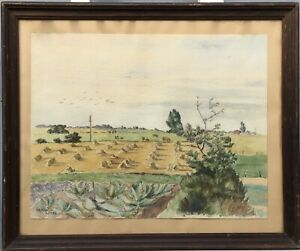 Summer-Landscape-with-Corn-Flakes-Harvest-Denmark-1944-MARNA-Signed-46-5-x-56-5