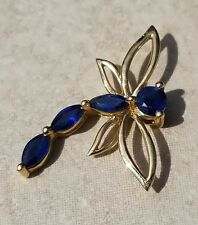 ESTATE 14K YELLOW GOLD BLUE SAPPHIRE DRAGONFLY PENDANT-FIGURAL INSECT-585