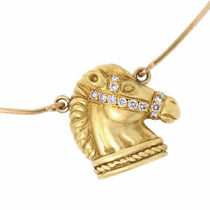 Judith ripka jewelry 18k yellow gold diamond horse pendant choker image is loading judith ripka jewelry 18k yellow gold diamond horse aloadofball Image collections
