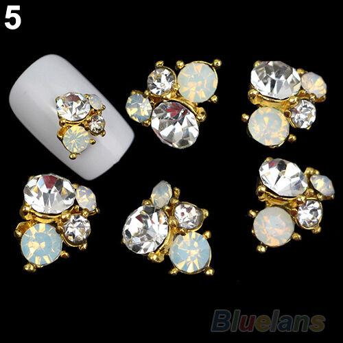 10X 3D DIY Rhinestones Crystal Nail Art Tips Studs Metallic Phone Decor Jewelry