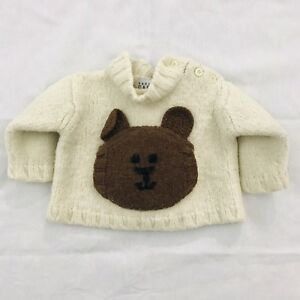 1194e6fb4 Baby Gap M 6-12 Months Wool Sweater Brown Bear Pocket Heavy Pullover ...