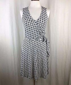 Tommy-Bahama-Black-amp-White-Chainlink-Print-Faux-Wrap-Silk-Dress-Size-2