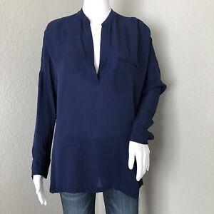 Vince-Women-039-s-Blouse-Size-Small-Georgette-Tunic-100-Silk-Navy-Blue-Vneck
