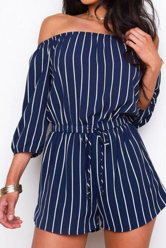 Navy Sleeves Romper 4 Striped Shoulder Off 3 With Vertical 5wqpRIxR