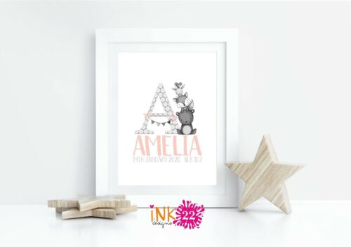 Personalised Art A4 illustrated Print For New baby Christening Gift Woodland.