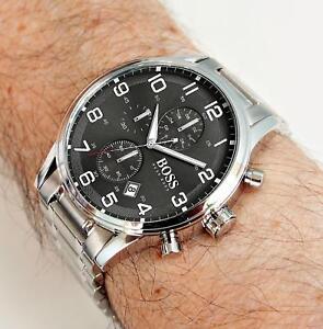 797bf6bf061 A imagem está carregando Hugo-Boss-1513181-aeroliner-Chronograph -Prata-Cinza-Escuro-
