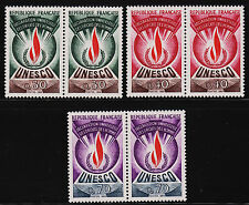1969 France Unesco Pairs Sc#2O9, 2O10, 2O12 Mint Never Hinged VF