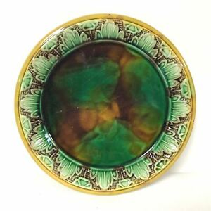 Antique-Majolica-Plate-Green-Brown-amp-Gold