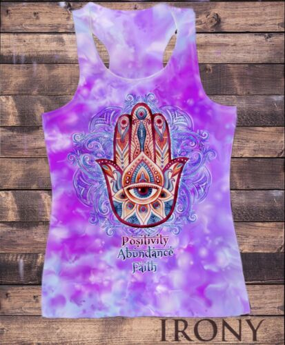 "Faith/"" Hamsa Hand Of Fatima Aztec SUB787 Womens Vest Top,/""Positivity Abundance"