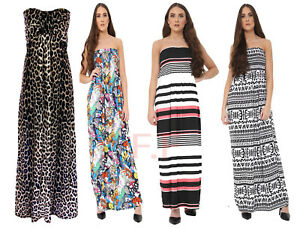 a81335d1bd Womens Ladies Leopard Print Knot Front Boob Tube Strapless Long Maxi ...
