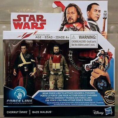 STAR WARS 3.75 inch The Last Jedi Force Link Chirrut Imwe//Baze 2-Pack New