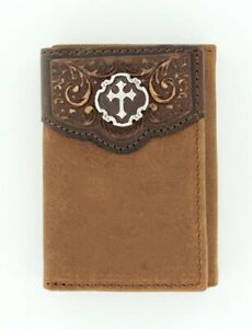 BROWN-Leather-Nocona-Tri-fold-WALLET-Floral-Tooled-Overlay-Sweet-Iron-Cross