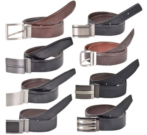 Mens Real Leather Casual Reversible Belt Trouser Jeans Metal Buckle