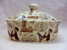 Steampunk design butterdish by Heron Cross Pottery