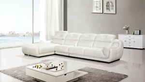 3pc Modern Contemporary White Genuine Leather Sectional Sofa Chaise