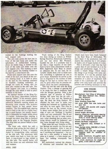 Vintage 1965 King Enduro Go-Kart Test Report 2 Pages New