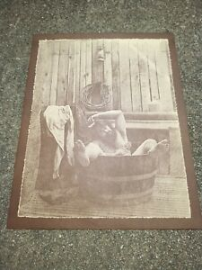 R Hendrickson Drunk Man Bearded Bear Cowboy Bathing Bath Barrel Tub