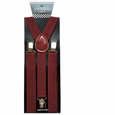 Mens Womens Burgundy Clip-on Suspenders Elastic Y-Shape Adjustable Braces