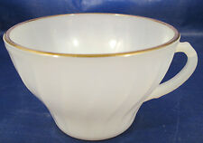 Oven Proof Dinnerware by Anchor Hocking Milk Glass Swirl Coffee Cup w/ Gold Trim