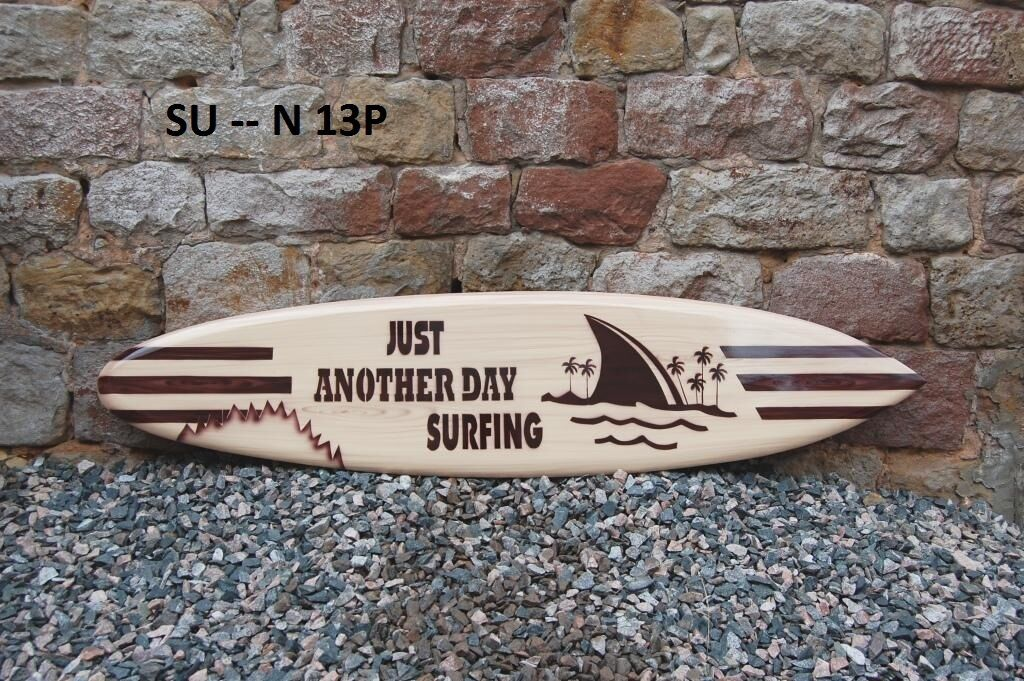 WOODEN 130cm ORNAMENTAL RETRO SURFBOARD LOGO JUST ANOTHER DAY SURFING  su130N13P