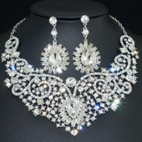 YT236 Clear Rhinestone Crystal Earrings Necklace Set Bridal Party Gift