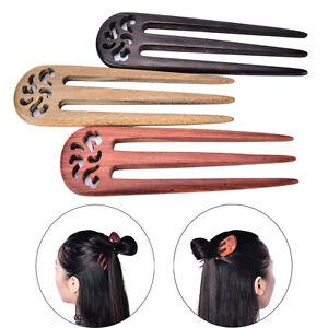 5-70-034-Carved-Ebony-Wooden-Sandalwood-Hair-Pin-Stick-Original-Retro-Women-Lady-ES