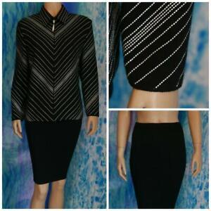 ST JOHN Evening Black Jacket Skirt L 12 14 2pc Suit Cream Sequined Shimmer