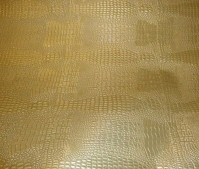 SAMPLE vinyl Faux Leather Reptile Skin Gold  embossed upholstery
