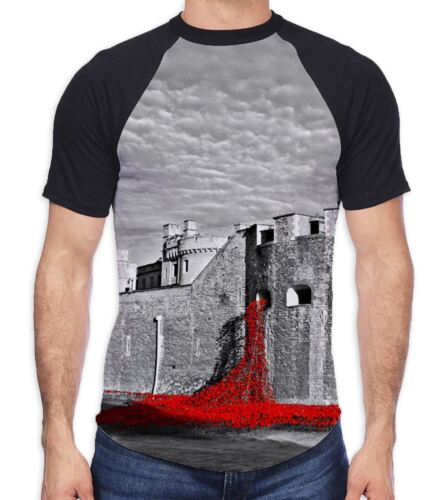 Tower of London Poppies Black and White Men/'s All Over Baseball T Shirt