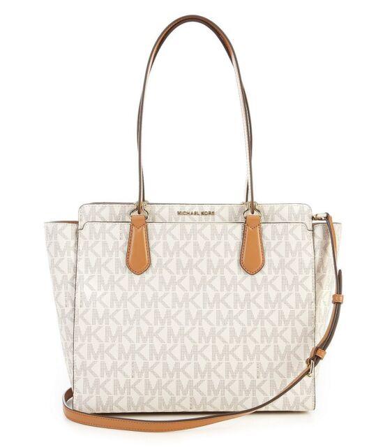 31658560e25 Michael Kors Dee Dee MK Signature Vanilla Tote Shoulder Bag
