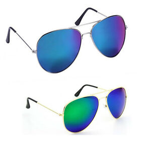 Elgator Men's Blue And Green Reflector Sunglass (ReflBlue-GreenRefl)