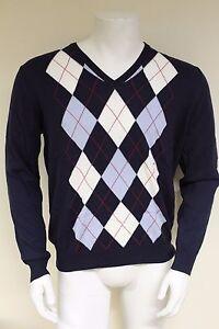 Men's V Burlington neck Pink Cotton s purple Argyle 60206 100 Fine Sweater Size Large L ptdwxIrd
