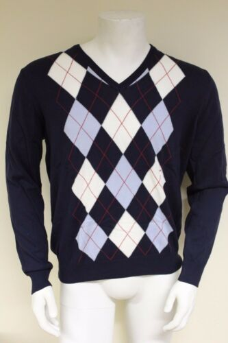 Burlington Uomo L//S V-Neck Fine 100/% Cotone Argyle Sweater Taglia Large 60206