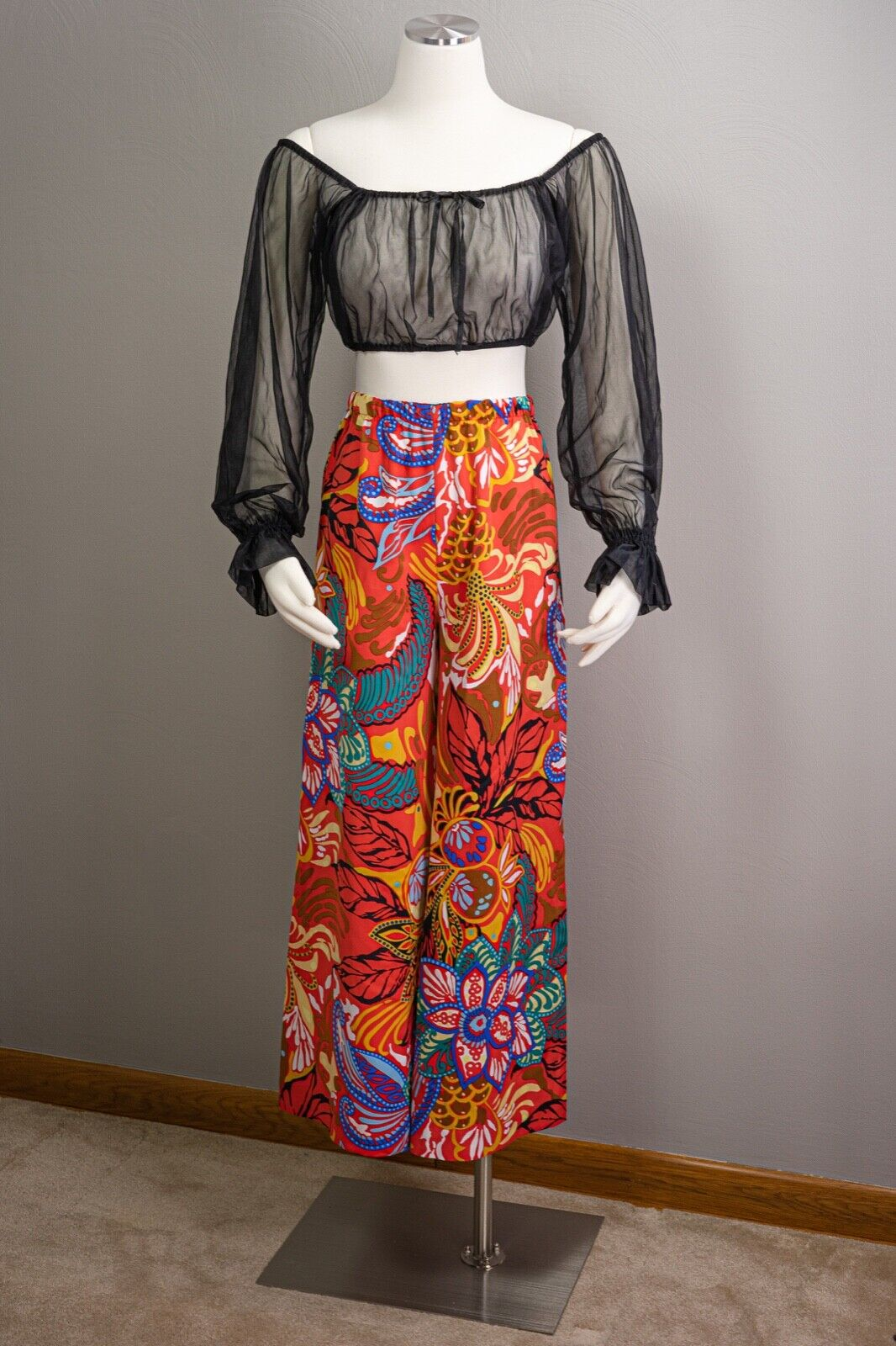 70s Sheer Peasant Crop Top Pants Sets, wide leg p… - image 2