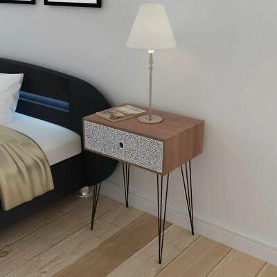 vidaXL Gabinete/mesita de noche rectangular con un cajón color marrón
