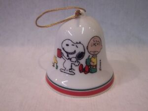 Image Is Loading Peanuts Charlie Brown Snoopy Porcelain Christmas Bell Ornament