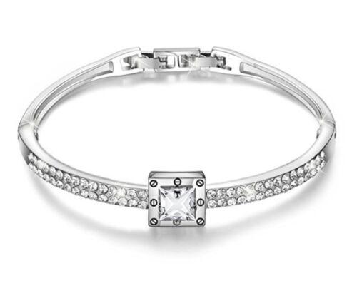 White gold finish princess cut created diamond bangle free postage gift idea WOW