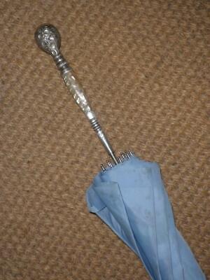 Prezzo Basso Vintage Dettagliate Argento Sterling & Madreperla-blu Baldacchino Ombrello - 82cm-