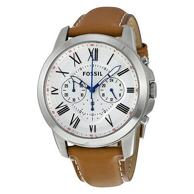 Fossil Grant Chronograph White Dial Tan Leather Mens Watch FS5060